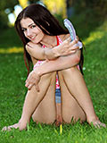 Nubiles.net Aimee Ryan - Cute teen relaxes in the grass and decides to pleasure her broke pussy