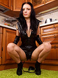 Alisa Cage Fingers Her Hot Pussy In The Kitchen With Her Sexy Legs Spread Wide - Picture 2