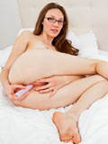 Glamorous Babe Aria Amor Masturbates With A Purple Dildo - Picture 13