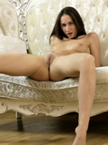 Horny Brunette With A Juicy Round Ass Touches Her Smooth Shaved Pussy - Picture 7