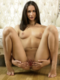 Horny Brunette With A Juicy Round Ass Touches Her Smooth Shaved Pussy - Picture 9
