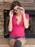 Sexy Nubile In Glasses Spreads Open Her Soft Pink Pussy - Picture 1