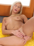 Long Haired Girl Next Door Lying On The Floor Fingering Her Pink Nubile Pussy - Picture 13