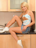 Lovely Cherry Pink Gets Naughty In The Kitchen Strips Her Skirt As She Exposes Her Tits And Pussy - Picture 4