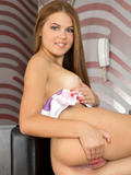 18 Year Old First Timer With Big Puffy Nipples Plays With Her Bald Pussy - Picture 9