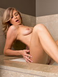 Sexy Coed With Big Perky Nipples Rubs Her Soft Twat In The Bath - Picture 10