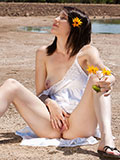 Luscious Amateur Babe Is Not Ashamed To Spread Her Pink Pussy Outdoors - Picture 14