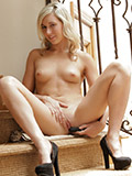 Nubile Lilly Banks Loves It As She Drills Her Pussy With The Vibrator On The Stairs - Picture 11