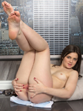 Angel Faced Brunette Amateur Spreads Her Bald Pussy Wide Open - Picture 14