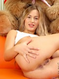 Long Haired Amateur Vova Stripping Down Her White Undies With Her Petite Boobs Pop Out - Picture 13
