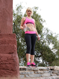 Gorgeous Blonde In Her Workout Gear Strips Down And Masturbates Outside - Picture 1
