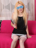 Playful Blonde Yvonne Shoves A Brush Into Her Sweet Cum Craving Twat - Picture 1