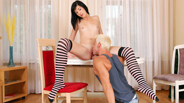 Nubiles.net Barbra - Hot college girl bends over and gets fucked beyond the table