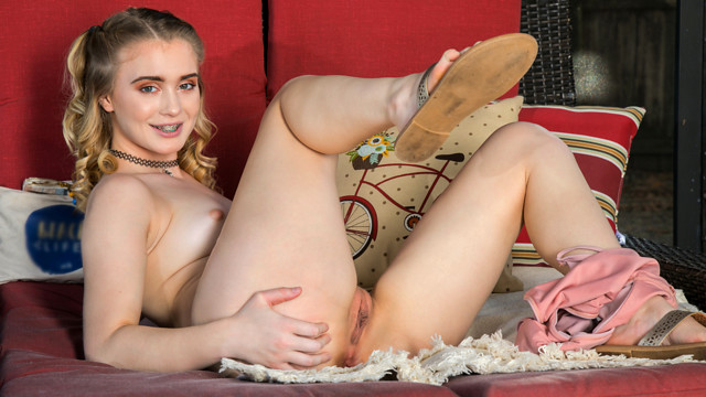 Anastasia Knight may be just 18 and new to the adult world, but this stunning blonde with her innocent braces and tight spinner body knows that she wants to fuck her way to fame. Check her out as she sheds her swimsuit and fondles her small tits and big ass on her way to her trimmed fuck hole.