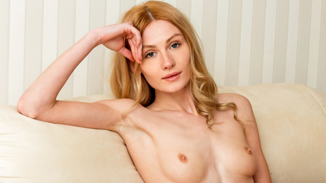 Sweet and sexy Gerda Y. is ready to masturbate and she wants you to watch. The blonde goddess works her way out of her bra and underwear, then feels up her small boobs with their tiny nips before moving lower. Her bare twat is slick with excitement as she strokes her slit to climax.