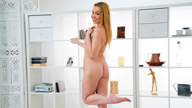 Check out the flat belly and perfect handful small boobs on cute Russian Lindsay Sharon. Stunning in a bra, thong, and high heels, the blonde stunner takes her time getting naked and sampling her pussy juices. Watch her show you how she likes to masturbate her landing strip snatch to climax.
