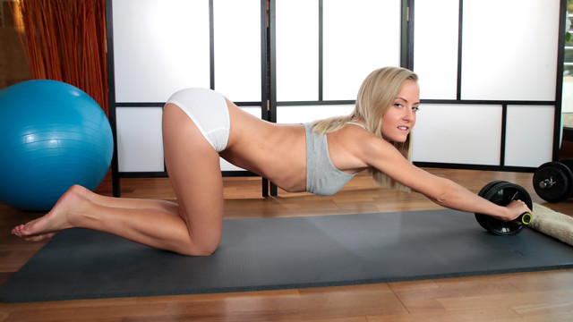 After a round of yoga that helps keep her body supple and flexible, Sicilia is always horny and eager to masturbate. She takes her time peeling off her sports bra and panties so her magic fingers have time to play with her puffy nipples and bald pussy before she commits to cumming.